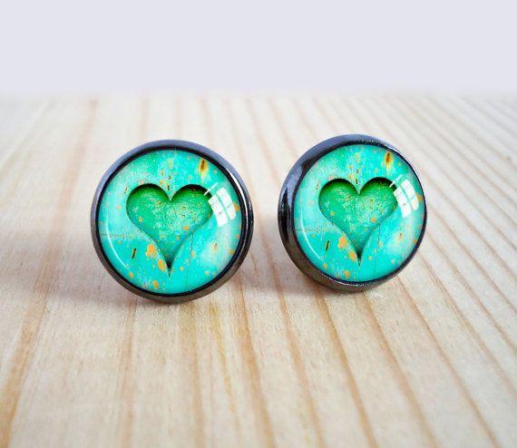 Heart stud earrings, wood heart image glass cabochon post earrings, glass dome green picture earrings, gun metal jewelry, photo studs gift