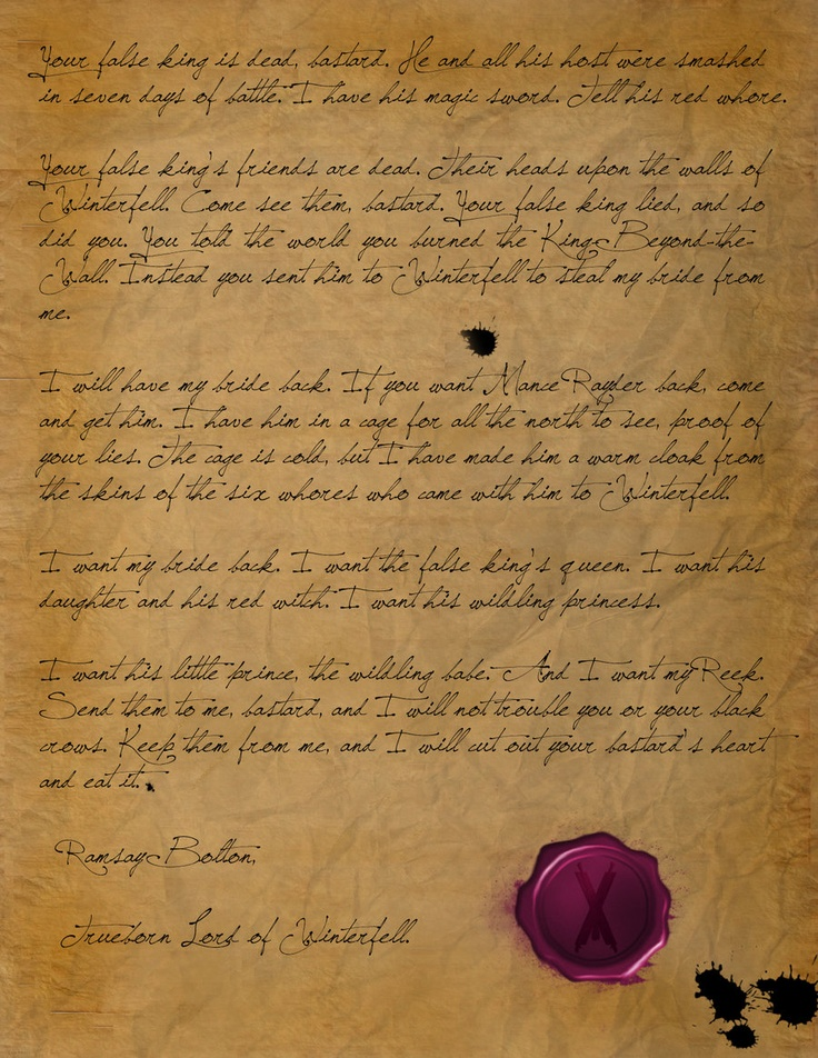 ramsay bolton letter to jon snow ramsay bolton s letter of thrones 24190