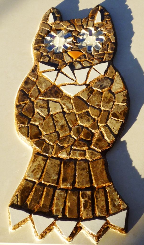 An owl. Made for my mother. It has 'glow in the dark' eyes (made from beads).