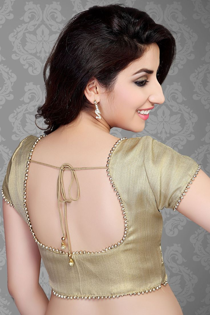 Beige golden brocade blouse blouse designs blouse designs for sarees -  Beige Self Designed Shimmer Designer Blouse Bl387