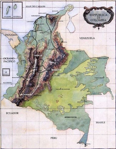 Large detailed terrain map of Colombia. Free download large detailed terrain map of Colombia