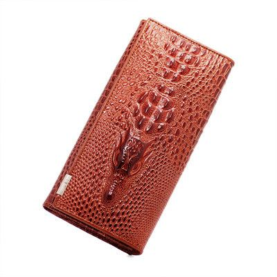 Herald Fashion Women Wallet Crocodile Head Cow PU Leather Wallet Women Purse 3D Long designer Money Clip Carteira Feminina