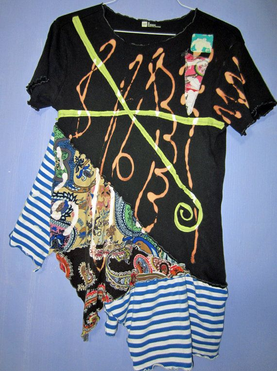 fun SHORT sleeve ASYMMETRICAL hem UpCyClEd tunic by monapaints, $169.12