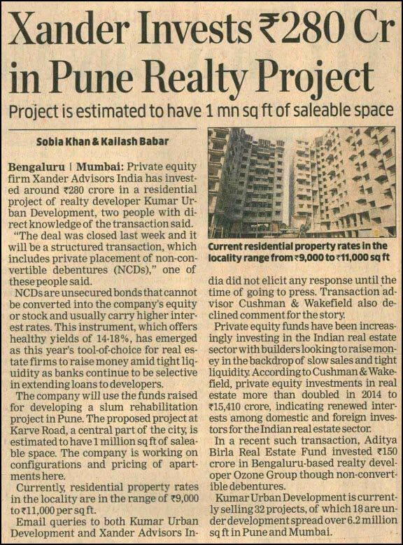 Private equity firm Xander Advisors India has invested around Rs. 280 crore in a #residentialproject of realty developer Kumar Urban Development, two people with direct knowledge of the transaction said.