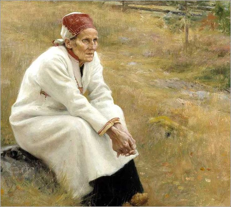 Finnish Lady Outside Church by Albert Edelfelt, ca. 1893. Whether she is praying or daydreaming, Edelfelt manages to convey that she is not looking at something she sees; she is lost in thought.