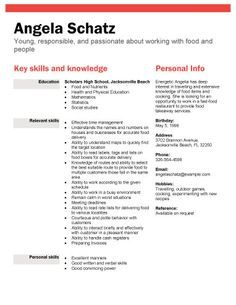high school student resume samples with no work experience - Google Search