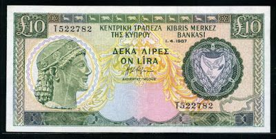 Currency of Cyprus Ten Cypriot Pounds Lira banknotes money notes