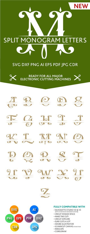 Split Letter Monogram Font Alphabet SVG DXF EPS Silhouette Studio Png Pdf Jpg Ai Cdr cuttable files for Silhouette Studio, Cricut, Cameo