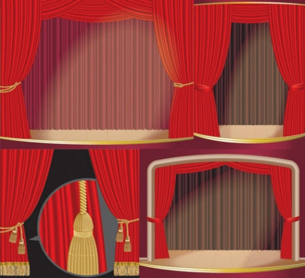 estágio material vetor cortina
