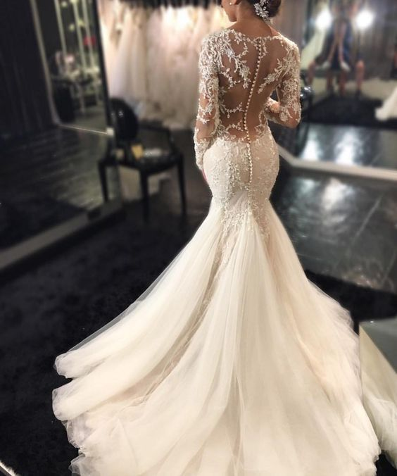 2269 best my wedding dress i want images on pinterest bridal 2016 mermaid wedding dresses long sleeves lace beaded sheer back sexy bridal gowns i have wanted an open back on my wedding dress forever but could totally junglespirit Image collections