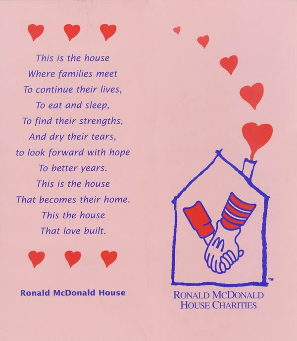 Ronald Mcdonald House - This is where out of town families with sick kids stay when their children are suffering in a Hospital far away from home.  There may be one near you with Plenty of Volunteer opportunities for your whole family/school/church.  There is one in Charlotte,NC #charlottepediatricclinic