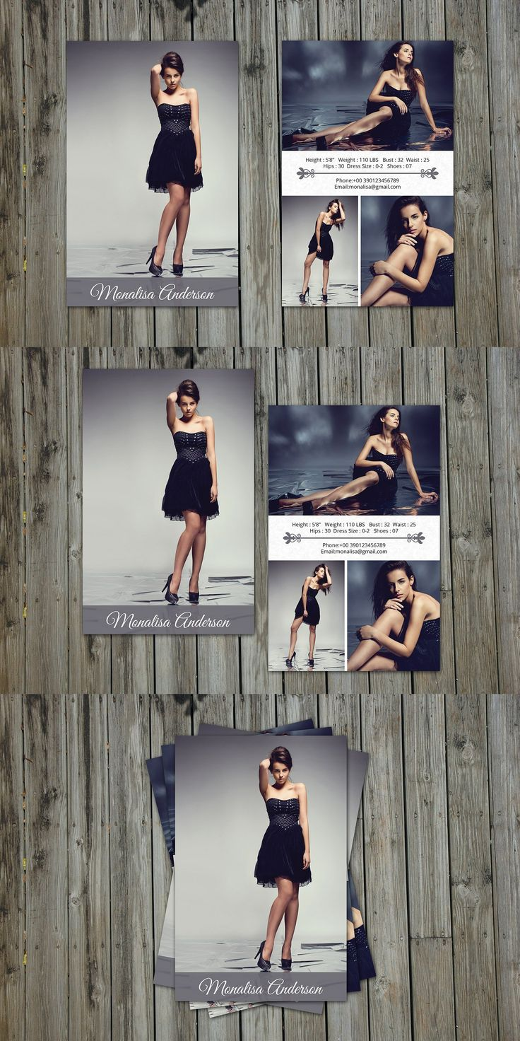 Modeling Comp Card Template PSD