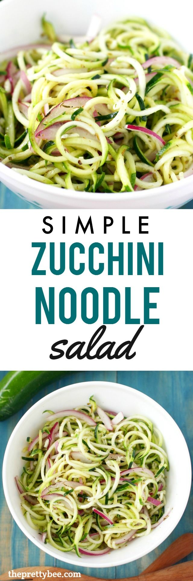 A fresh summer salad made with zucchini noodles and red onion! Delicious and healthy!
