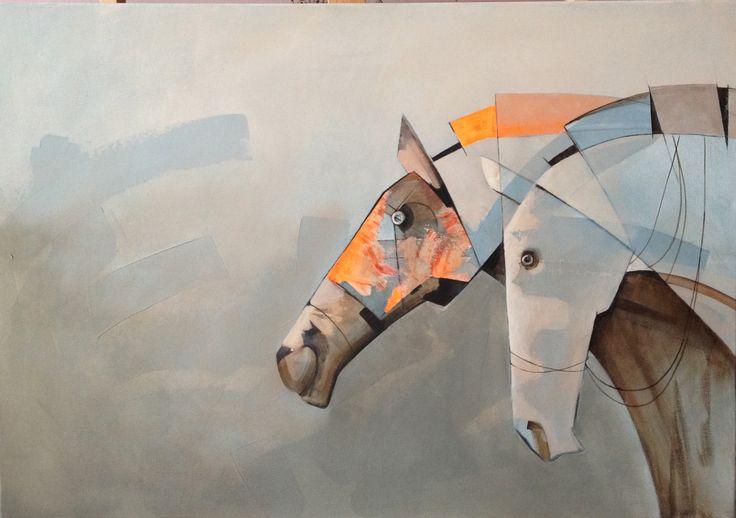 Road through the mist, painting, acrylic on canvas || Droga we mgle, obraz, akryl na płótnie
