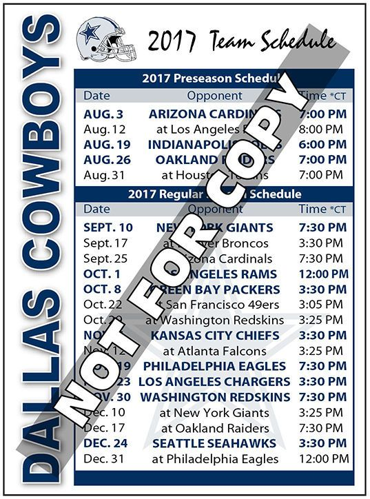 SALE!!  2017 Dallas Cowboys Football Schedule Magnet  NFL (High Quality Magnet)