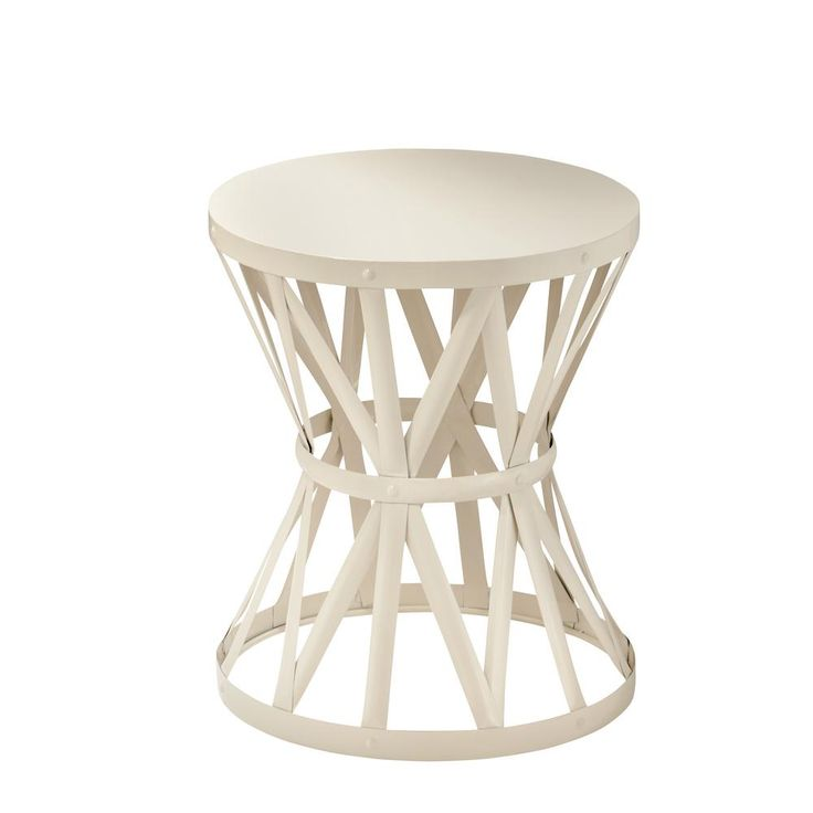 Hampton Bay 18 9 In Round Metal Garden Stool In Chalk