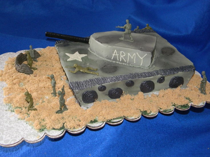 Army Tank Cake for a boy's birthday party. Everything is edible except for the small Army men.