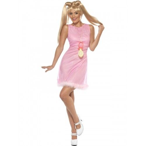 baby spice pink dress with fluffy hemline 1990s icon