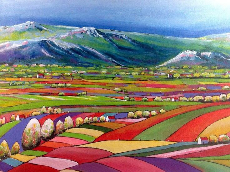 """""""QUILTED LANDSCAPE 05"""" by LOUISE GROVE WIECHERS. Paintings for Sale. Bluethumb - Online Art Gallery"""