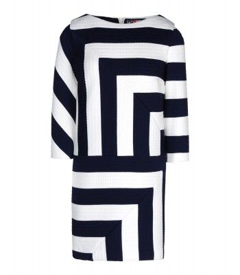 60s Mod Trend on #ShopBAZAAR – MSGM Navy and White Quilted Stripe Dress
