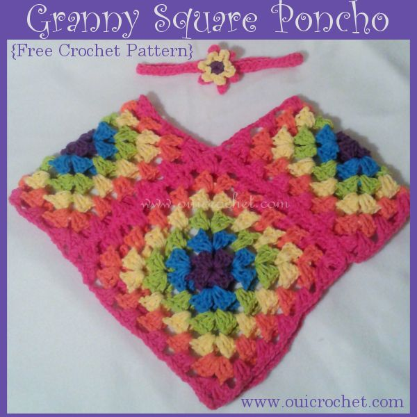 Granny Square Poncho: Size 12-18 months {Free Crochet Pattern}