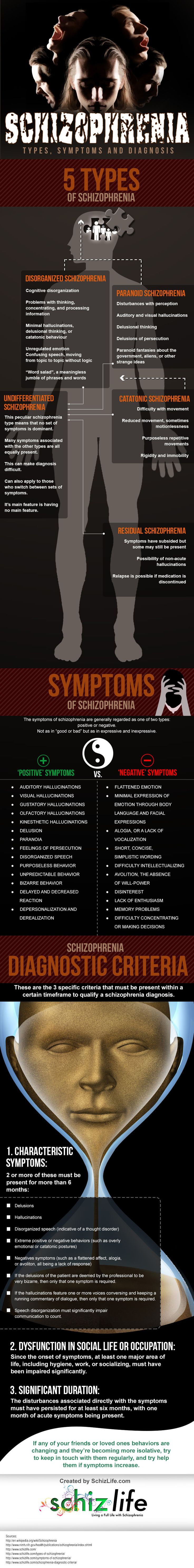Schizophrenia Infographic on the Types, Symptoms, and Diagnosis of Schizophrenia. http://www.schizlife.com/is-schizophrenia-genetic/