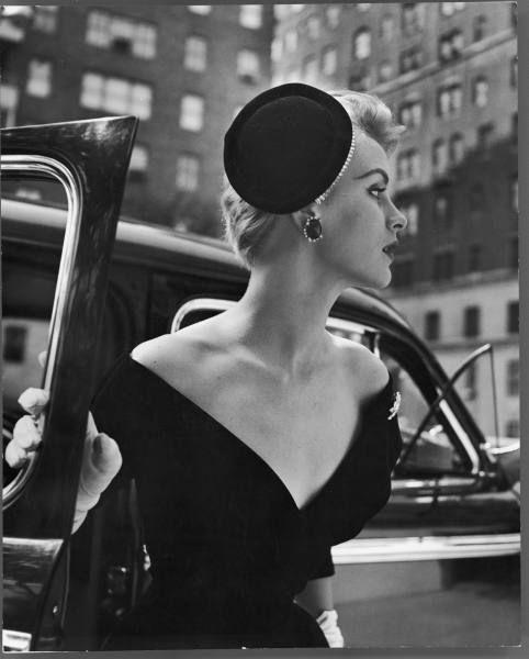 Headpieces, vintage :Vintage fashion photography ~ Black V neck dress with coordinating black hat