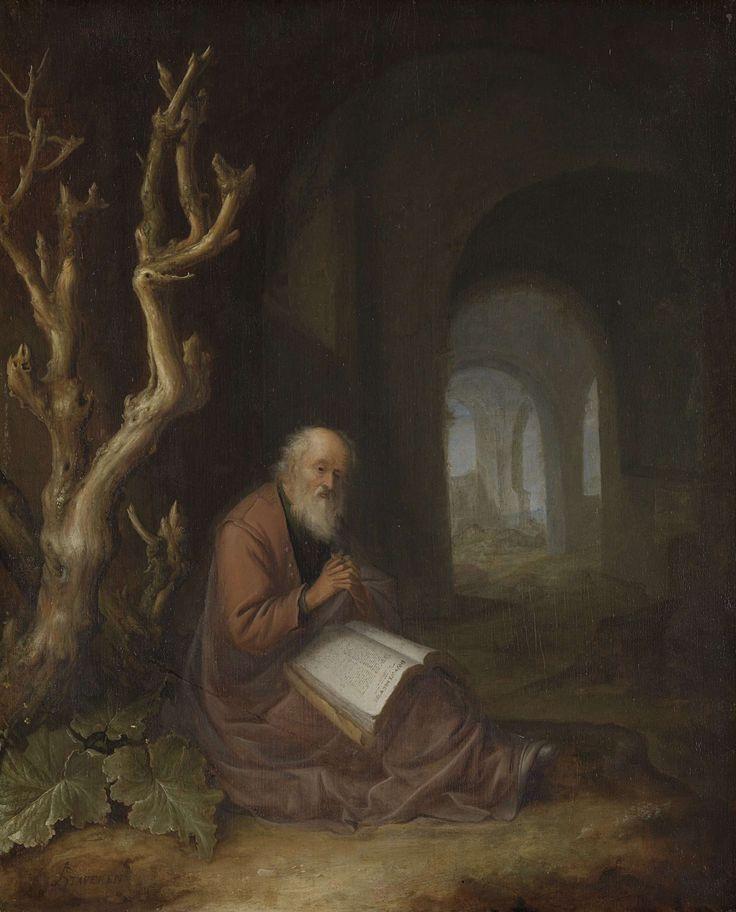 Een biddende kluizenaar in een ruïne, Jan Adriaensz. van Staveren, 1650