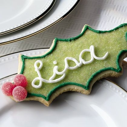 Holiday Hello Cookies (edible place cards - so cute)