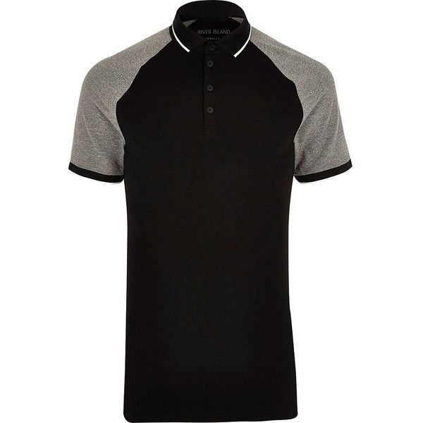 River Island Black and grey muscle fit polo shirt ($22) ❤ liked on Polyvore featuring men's fashion, men's clothing, men's shirts and men's polos