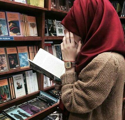 book, girl, and hijab image