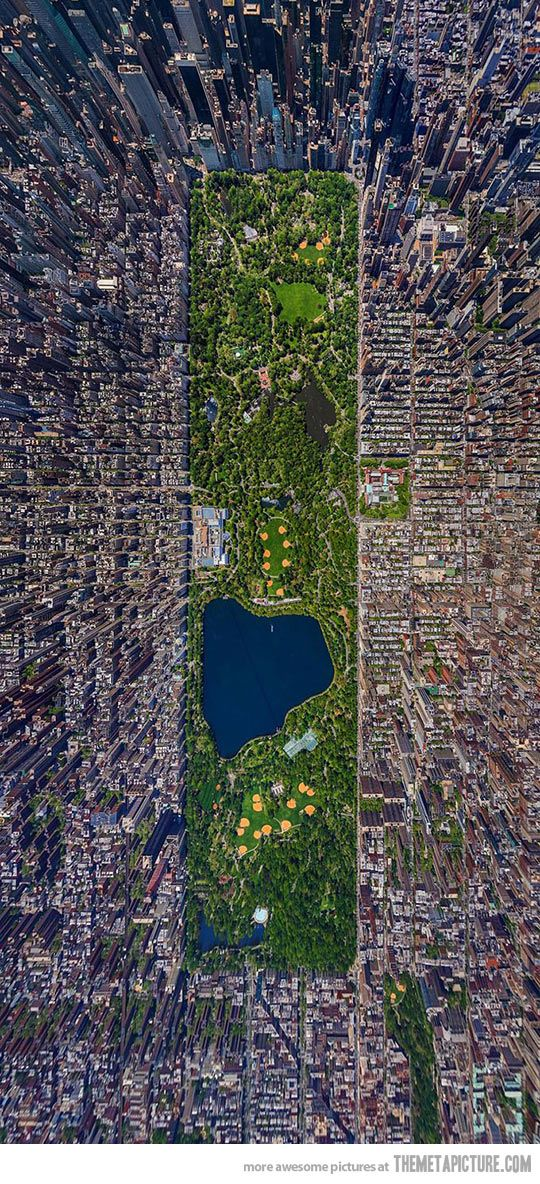 Aerial view of Central Park - I'm not sure I ever had any idea what it was actually like! I love it there