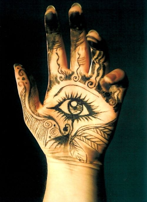 Reminds me of Karou's hamsa tattoos in Daughter of Smoke and Bone                                                                                                                                                                                 More