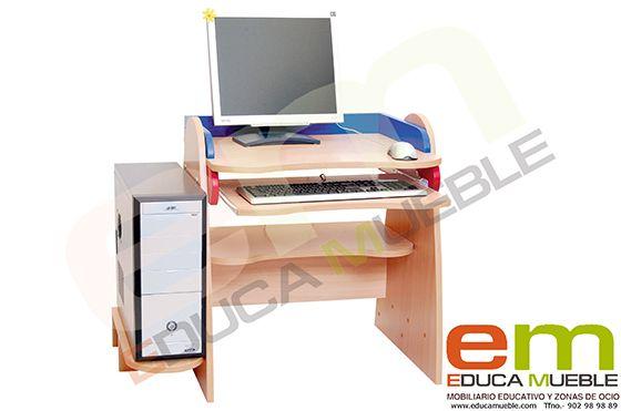 #Escritorio #infantil para PC - Funcional #mesa para el ordenador con un estante extraible, ajustable en altura, para el teclado. #Mobiliario para #niños en Tienda Educamueble