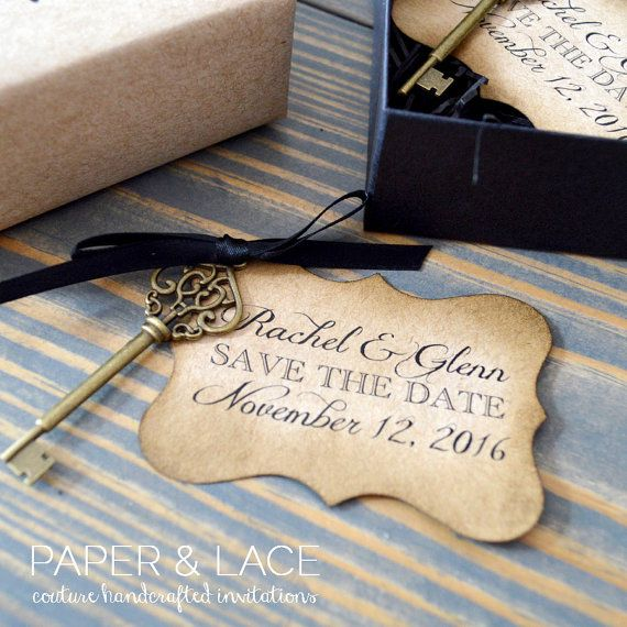 Vintage Key Save the Dates - Rustic Save the Date - Distressed Hangtag with Vintage Bronze Key - Black Box and Filler - Gift Wrapped