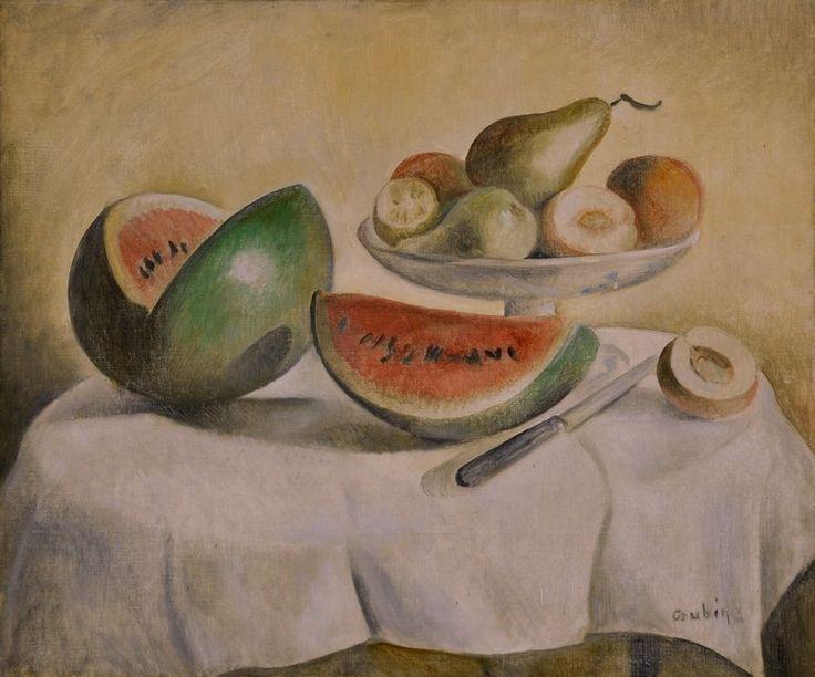 Otakar Kubín - Zátiší s melounem a podnosem