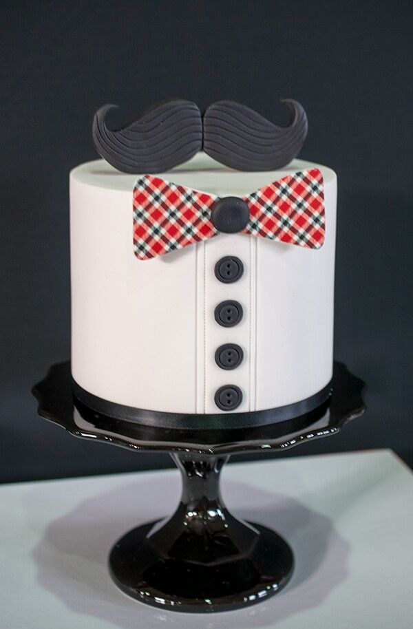 Little Man Mustache Bow Tie Cake