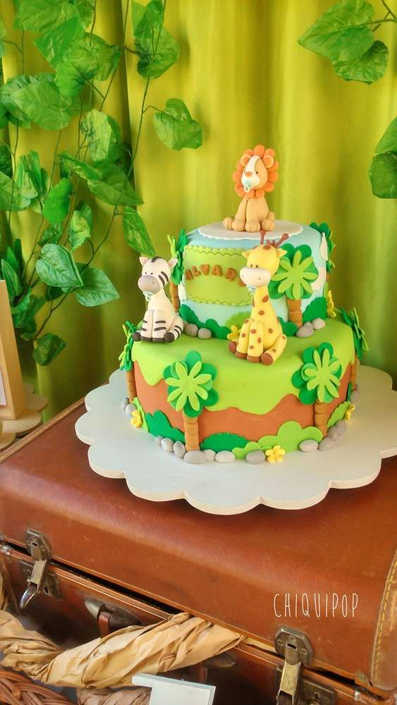 Check out this cool Jungle Birthday cake! Love the pacifier in the little lions mouth! See more party ideas and share yours at CatchMyParty.com