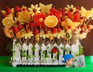 Fruit skewer garden, nice idea for an edible bouqet