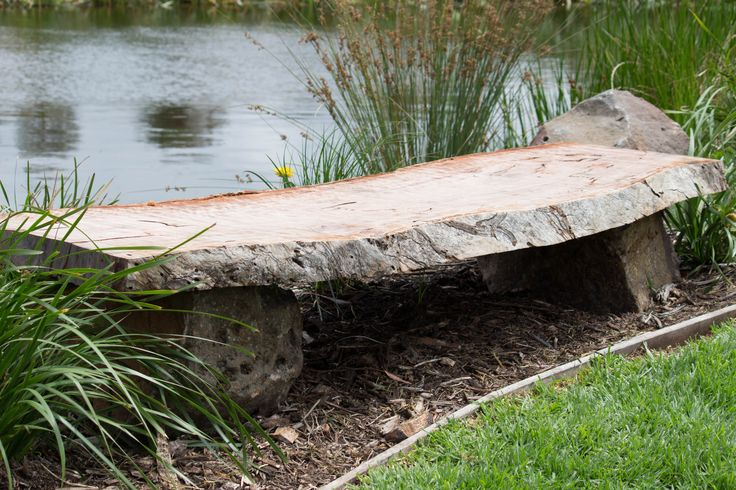 Bolinda Vale, Clarkefield.  Gorgeous redgum seating by the Billabong.  Landscape by Phillip Johnson Landscape Design.