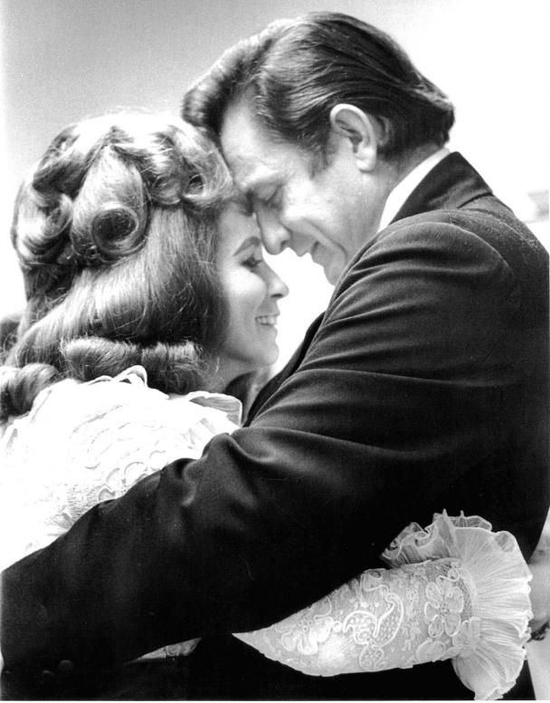 Johnny Cash and June Carter behind the scenes at his Folsom Prison Concert, 1968.