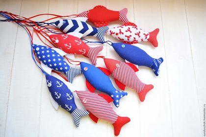 Детская ручной работы. Текстильные рыбки  для оформления детской комнаты  в морском стиле. Сундучок. Ярмарка Мастеров. Рыбки