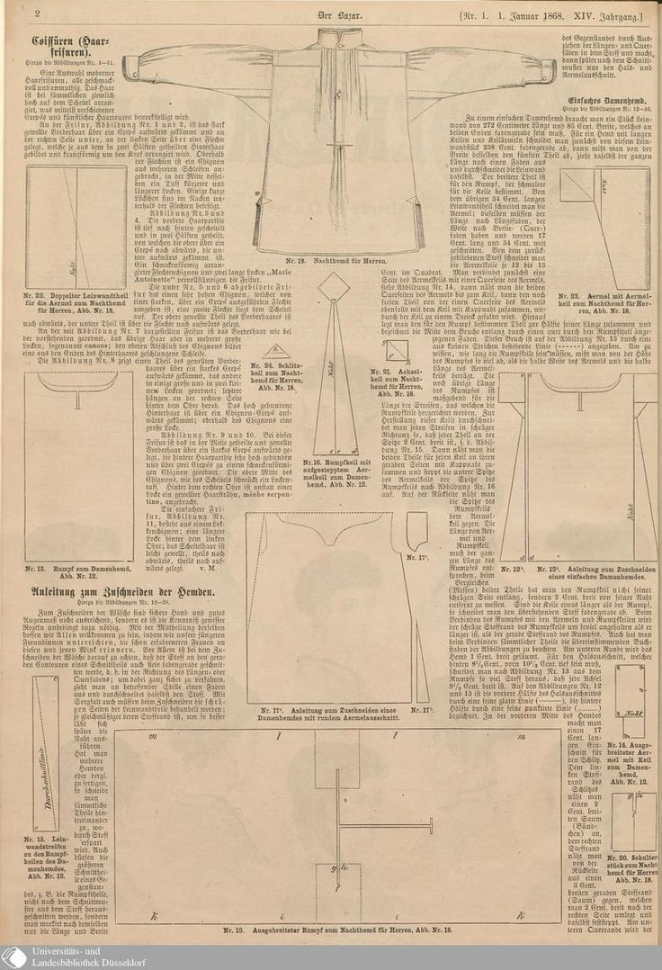 1868 Der Bazar, pattern for a man's nightshirt.