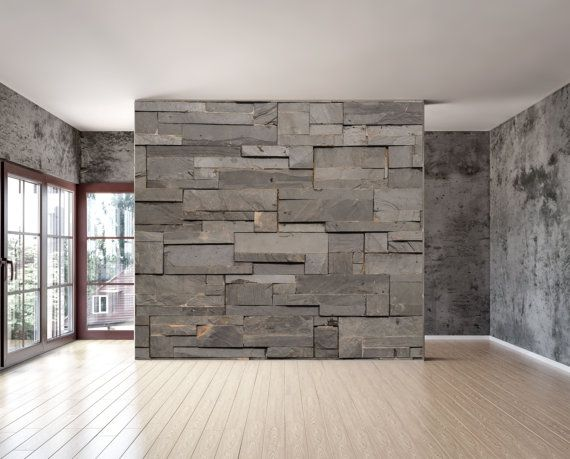 Dark grey stone tile texture wall mural, is a repositionable peel & stick fabric material with an adhesive back. can be installed on virtually any reasonable Flat and smooth surface and withstand different climate controls. Dark grey stone tile texture wall mural, does not peel, rip or wrinkle. It can be moved and re-applied over and over again. Our adhesive does not weaken or strengthen over time.. This material is US patented, green and nontoxic.   by StyleAwall, $480.00
