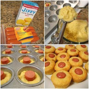 Mini Corn Dog Muffins makes 16 1 package Jiffy Corn Muffin Mix 1 egg 1/3 cup milk 3-4 hot dogs Nonstick cooking spray Preheat oven to 400°. Generously coat cups of mini muffin pan with nonstick cooking spray & set aside. Prepare corn muffin mix as instructed on box. Let rest for 5 min. Cut hot dogs into 1-inch pieces. Place one hot dog section in the middle of each filled muffin cup. Bake for 10 min. Remove, run a knife around the edge of the mini cups to loosen & remove. Enjoy immediately!