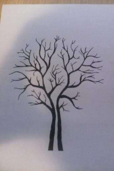 arbol de firmas, arbol de huellas tinta,papel de acuarela dibujo a plumilla