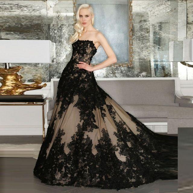 Schnelles Verschiffen Schwarze Gothic Brautkleider 2016 Trägerlosen Vintage Spitze Appliqued Sexy Frauen Robe De Mariage Brautkleider Kleider