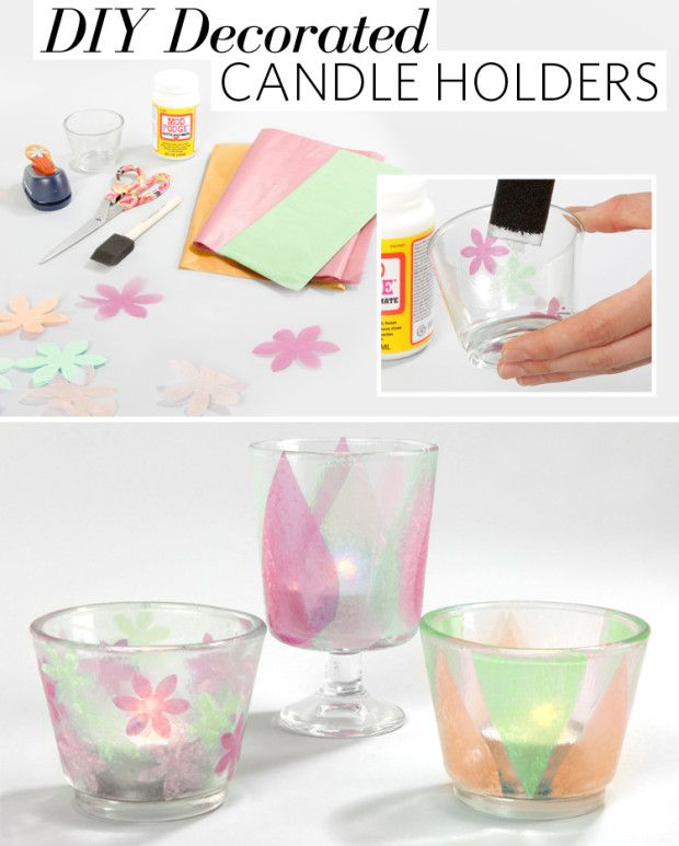 21 best images about tissue paper crafts on pinterest for Diy candle crafts