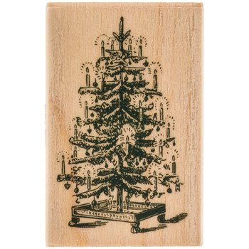 Vintage Christmas Tree Rubber Stamp