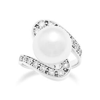 Forget a diamond engagement ring, get me this!  A south sea white pearl with diamonds in 14K white gold.